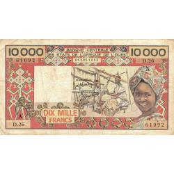 Côte d'Ivoire - Pick 109Ah-1- 10'000 francs - 1986 - Etat : TB