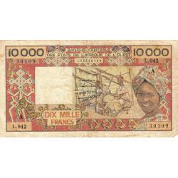 Côte d'Ivoire - Pick 109Ai- 10'000 francs - 1989 - Etat : TB-