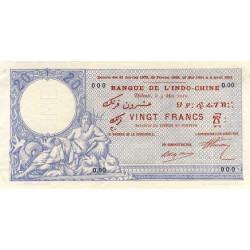Djibouti - Pick 2 specimen - 20 francs - 1910 - Etat : SUP+