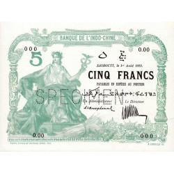 Djibouti - Pick 4A specimen - 5 francs - 1923 - Etat : pr.NEUF