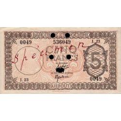 Djibouti - Pick 14 specimen - 5 francs - 1944 - Etat : SUP