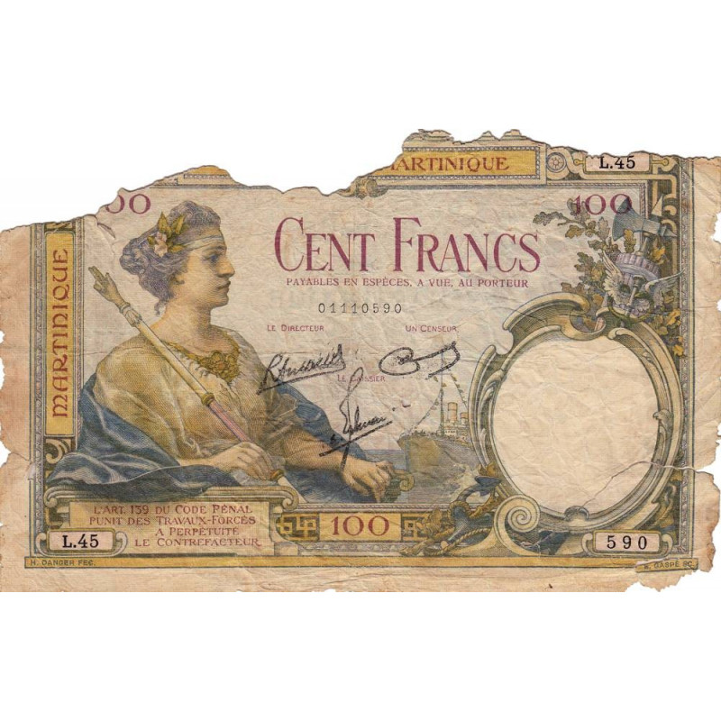 Martinique - Pick 13-5 - 100 francs - Etat : AB-