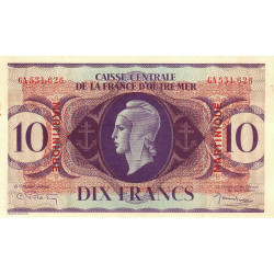 Martinique - Pick 23 - 10 francs France Outre-Mer - 1944 - Etat : SUP+