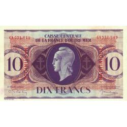 Martinique - Pick 23 - 10 francs France Outre-Mer - 1944 - Etat : SPL