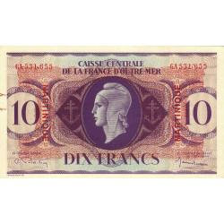 Martinique - Pick 23 - 10 francs France Outre-Mer - 1944 - Etat : TTB