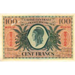 Martinique - Pick 25 - 100 francs France Outre-Mer - 1944 - Etat : SUP