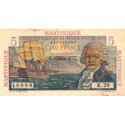 Martinique - Pick 27 - 5 francs - France Outre-Mer - 1947 - Etat : TTB