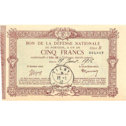 Bon de la Défense Nationale - 1916 - 5 francs - Etat : SPL