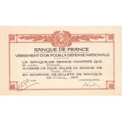 Versement d'or pour la Défense Nationale - 1915