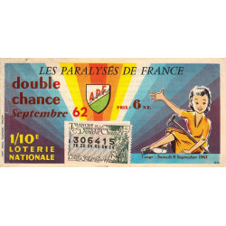 1962 - 1/10ème double chance - Les Paralysés de France