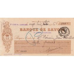 Banque de Savoie - Chèque 1926 - 1b - Etat : TTB+