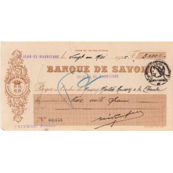 Banque de Savoie - Chèque 1926 - 1b - Etat : TTB