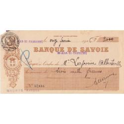 Banque de Savoie - Chèque 1926 - 1b - Etat : TB+