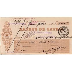 Banque de Savoie - Chèque 1926 - 2a - Etat : TTB+