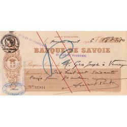 Banque de Savoie - Chèque 1926 - 3b - Etat : TTB+