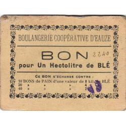 32 - Eauze - Boulangerie Coopérative - Bon pour 1 hectolitre de blé - Type 5 - Etat : TB+