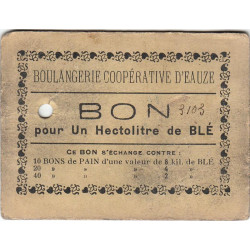 32 - Eauze - Boulangerie Coopérative - Bon pour 1 hectolitre de blé - Type 6 - Etat : TB+ à TTB