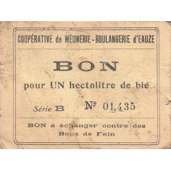 32 - Eauze - Coopérative de Meunerie Boulangerie - Bon pour 1 hectolitre de blé - Série B - Etat : TB+