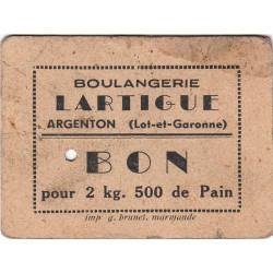 47 - Argenton - Boulangerie Lartigue - Bon pour 2 kg 500 de Pain - Type 3 - Etat : TB+