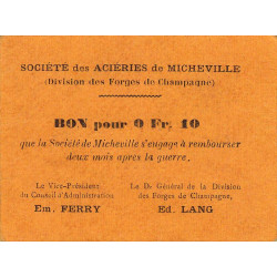 52-12 Marnaval - Aciéries de Micheville - 0,10 franc - Etat : SUP