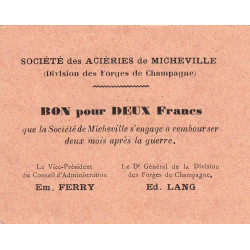 52-16 Marnaval - Aciéries de Micheville - 2 francs - Etat : SPL à NEUF