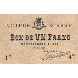 52-32 Wassy - 1 franc - Octobre 1915 - Etat : TTB