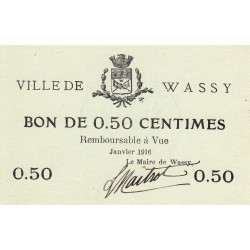 52-43 Wassy - 50 centimes - Janvier 1916 - Etat : SPL à NEUF