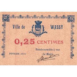 52-46 Wassy - 25 centimes - Février 1916 - Etat : SPL à NEUF