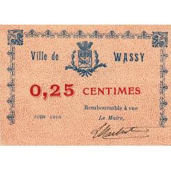 52-48 Wassy - 25 centimes - Juin 1916 - Etat : SPL à NEUF