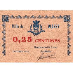 52-50 Wassy - 25 centimes - Octobre 1916 - Etat : SPL à NEUF