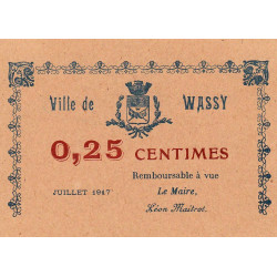 52-52 Wassy - 25 centimes - Juillet 1917 - Etat : SPL à NEUF