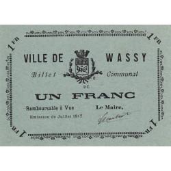 52-53 Wassy - 1 franc - juillet 1917 - Etat : SPL à NEUF
