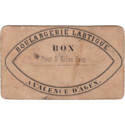 82-nr Valence d'Agen - Boulangerie LARTIGUE - Bon pour 5 kg de pain - Etat : TB+
