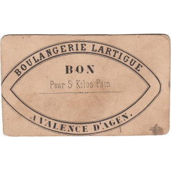 82-nr Valence d'Agen - Boulangerie Lartigue - Bon pour 5 kg de pain - Etat : TTB