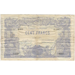 France - Fayette A39-09 - 1873 - 100 francs indices noirs
