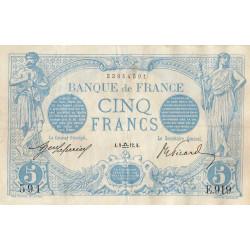 F 02-09 - 09/09/1912 - 5 francs - Bleu - Etat : TTB+