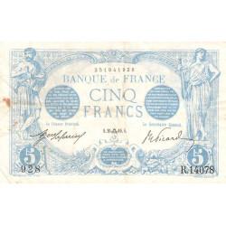 F 02-43 - 25/09/1916 - 5 francs - Bleu - Etat : TTB+