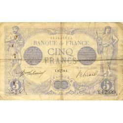 F 02bis-04 - 1916 - 5 francs - Bleu lion inversé - Etat : TB