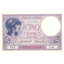 F 03-01 - 10/12/1917 - 5 francs - Violet - Etat : SUP