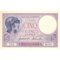 F 03-01 - 17/12/1917 - 5 francs - Violet - Etat : TTB+