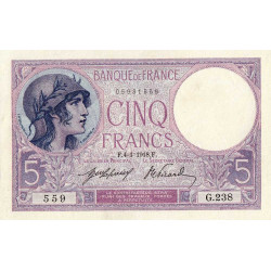 F 03-02 - 1918 - 5 francs - Violet - Etat : SPL