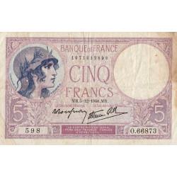 F 04-17 - 05/12/1940 - 5 francs - Violet modifié - Etat : TB