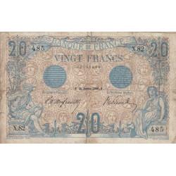 F 10-01 - 25/01/1906 - 20 francs - Bleu - Etat : TB
