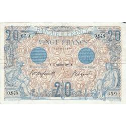 F 10-01 - 11/09/1906 - 20 francs - Bleu - Etat : TTB