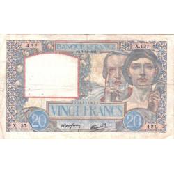 F 12-01 - 07/12/1939 - 20 francs - Science et Travail - Etat : TB