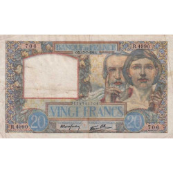 F 12-16 - 1940 - 20 francs - Science et Travail - Etat : TB+