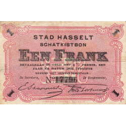 Belgique - Hasselt -  HA218 - 1 franc - 1915 - Etat : TTB-