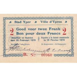 Belgique - Ypres -  YP06 - 2 francs - 1914 - Etat : TTB+ à SUP