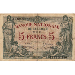 Belgique - Pick 75b - 5 francs - 1919 - Etat : TB