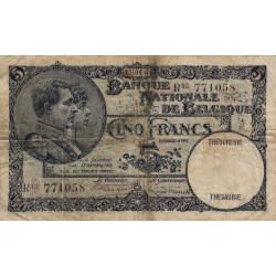 Belgique - Pick 97b - 5 francs - 1931 - Etat : TB-
